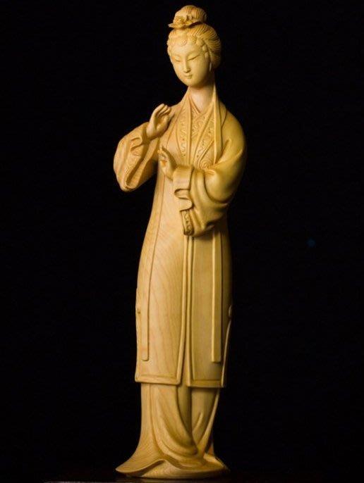 【禪那】黃楊木雕刻工藝品現代中式家居實木裝飾擺件精品國粹戲曲青衣美女1462