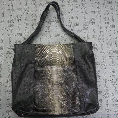 法國品牌 Bizarre 高級鴕鳥皮&蟒蛇皮手提包  低價出清