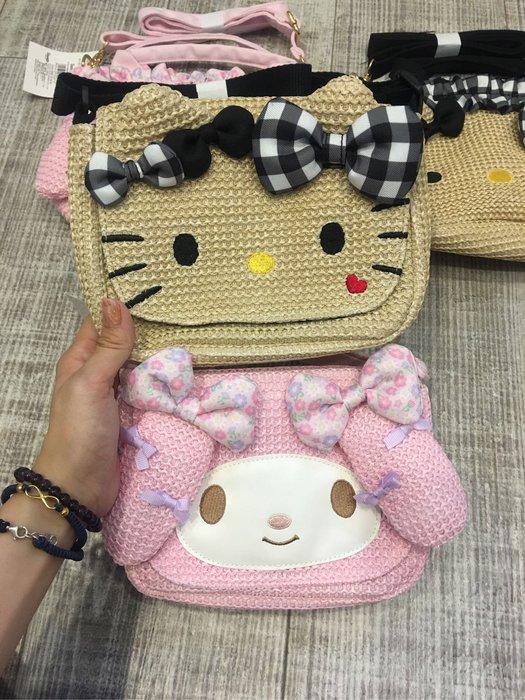 Baby Sheep 日本三麗鷗Sanrio 凱蒂貓 美樂蒂 kitty melody 斜背包 燈籠包 藤編包 凱蒂斜背包
