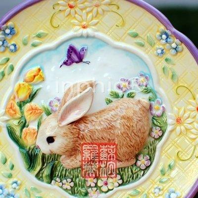 INPHIC-手工浮雕 彩繪陶瓷 家居裝飾盤 兔 掛盤 黃