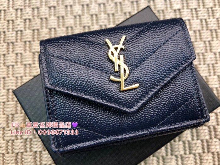 《真愛名牌精品》YSL 505118 深藍色金字 mini 3折短夾 **全新品**代購