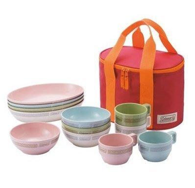 【山野賣客】Coleman CM-26766 晶格餐盤組/彩色 餐具組 碗 盤子 杯子