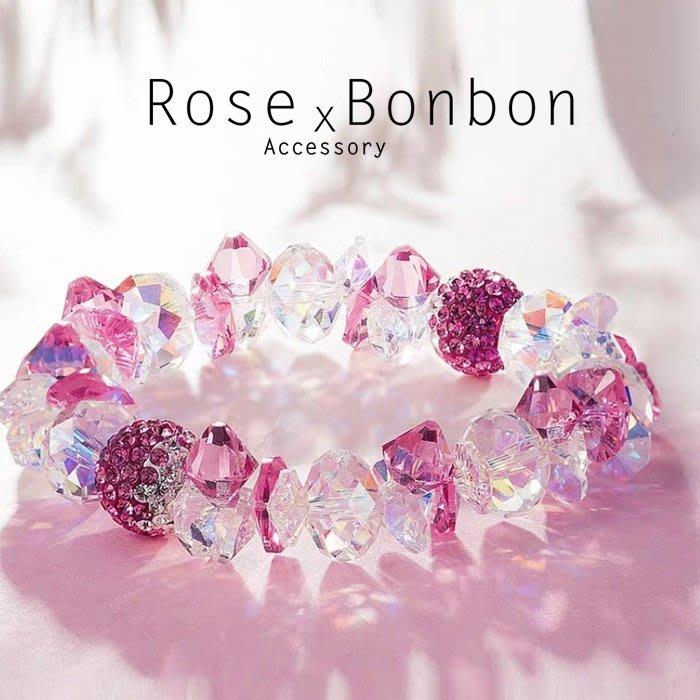 日本原創設計奧地利粉水晶手鍊 捷克鑽 手串飾品 送禮 婚姻戀愛幸福Rose Bonbon G4HA03