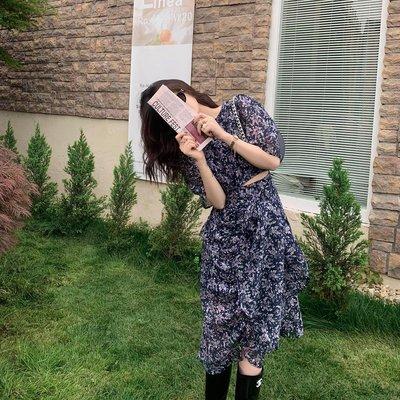 「米諾小屋」 ICELOLLY中長款短袖雪紡碎花連衣裙夏潮新款設計感茶歇早春CHIC裙子RL28