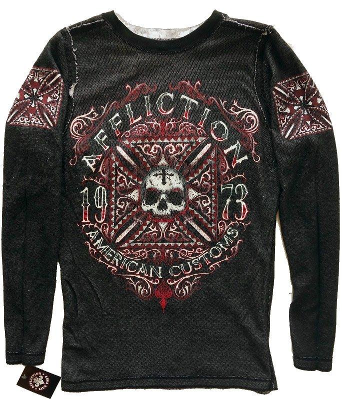 Affliction 長袖 T 恤 雙面穿 紅骷顱雙鷹重機暗黑搖滾 大尺碼 黑色+白色 L XXL 3XL【 以靡正品】