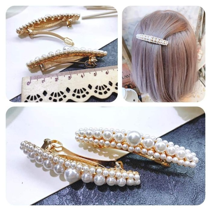 【Love Trina】9409-0403 優雅大小珍珠金屬造型彈夾(6.5ᑕᗰ)。自動夾。髮夾 -(1色)~
