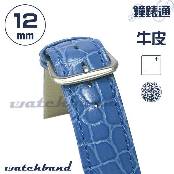 【鐘錶通】C1-60BR《簡約系列》鱷魚小花紋-12mm 冰雪藍   /手錶錶帶/鱷魚小花紋/牛皮錶帶/