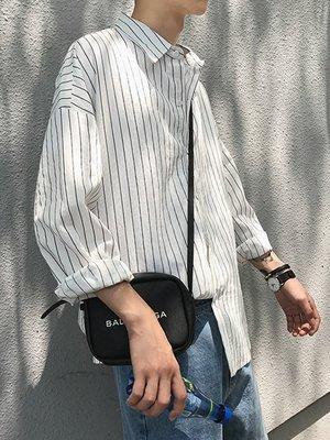 T恤男 短袖 長袖 百搭 正韓 港風夏季薄款男士長袖襯衣文藝小清新條紋寬鬆襯衫韓版襯衫潮