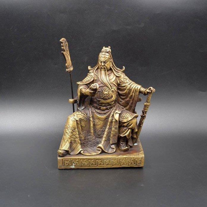 【禪那】仿古純銅器武財神關公鎮紙保佑平安開業典禮工藝禮品家居裝飾擺件861