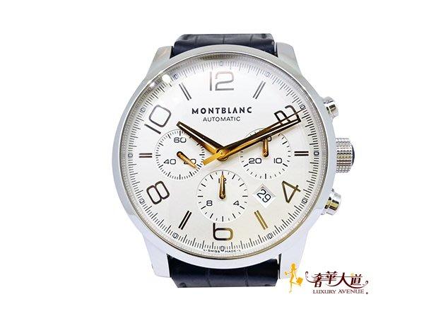 *奢華大道國際精品*【W0518】萬寶龍 MontBlanc白底Timewalker 系列三眼計時腕錶43MM