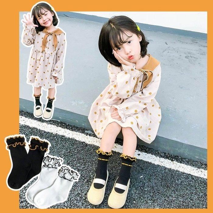 【小阿霏】女孩短襪 兒童純色雙層泡泡口荷葉木耳邊堆堆襪 女童襪子 中小中大童尺碼PA62