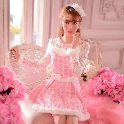 ☆女孩衣著☆2015秋裝新款女裝日系甜美兔毛蝴蝶結長袖毛呢公主裙連衣裙(NO.190)