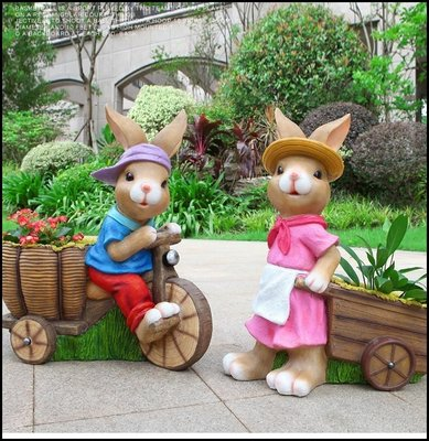 立體波麗兔子花器 超大型粉色女生洋裝兔...