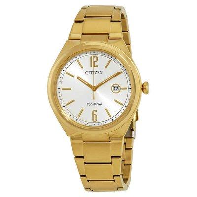 【換日線】男錶 Citizen Chandler Silver Dial Yellow Gold-plated Men's Watch AW1372-81A