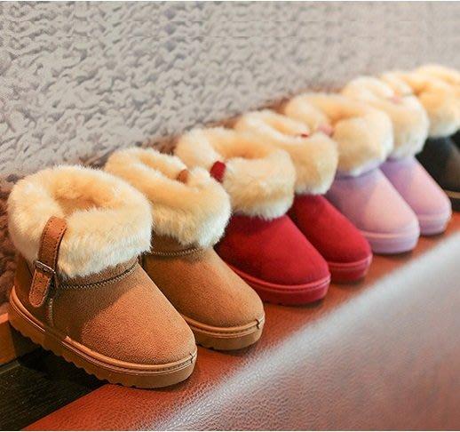 現貨 兒童保暖翻邊時尚扣環雪地靴