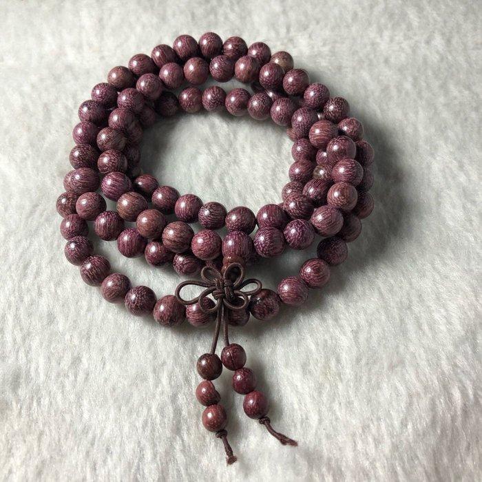 7.5mm紫心木珠 飾品 紫羅蘭木珠 木珠手串男女108顆佛珠手錬 修行結緣木珠7.5mm