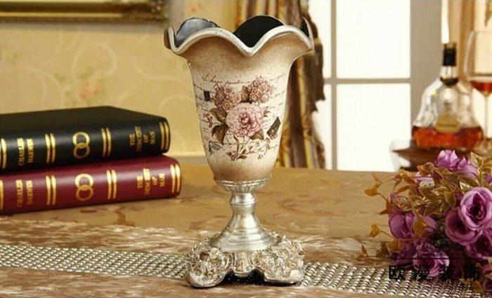 粉紅玫瑰精品屋~歐式復古富貴牡丹花瓶~