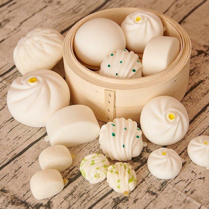 小花精品店-仿真食物模型包子饅頭花卷點心幼兒玩具回彈食品道具擺件樣板擺設