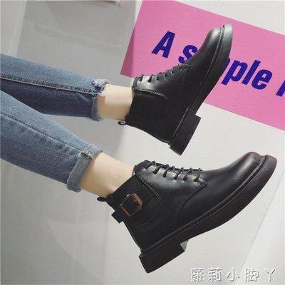 短靴秋新款ins馬丁靴女英倫風學生復古前繫帶百搭平底子