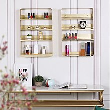 高貴浴室梳妝架($428包送貨)掛牆上置物架金色壁掛 多層化妝品架香水收納架