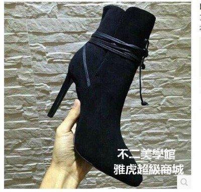【格倫雅】歐美秋冬尖頭超高跟短靴女靴性感細跟系帶馬丁靴黑色裸靴63434[g-l-y23