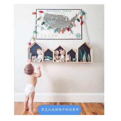 居家用品 木質工藝品ins北歐實木小房子五邊形置物架兒童房裝飾 心選優品 購物節~