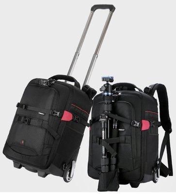 呈現攝影-SAMARK 拉捍雙肩後背包 大號 黑紅色 大滑輪 相機包 旅行箱
