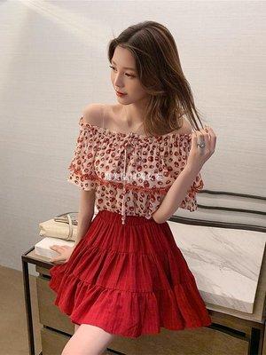集美屋韓國女裝2019夏季新款正韓一字領雪紡衫+蛋糕半身裙套裝女御姐時尚兩件套