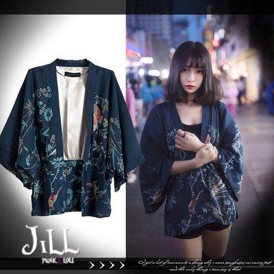 Oo吉兒oO傳統日本和風武士道日式和服鳳凰印花和服蝙蝠袖寬鬆外掛外套【JN1020】