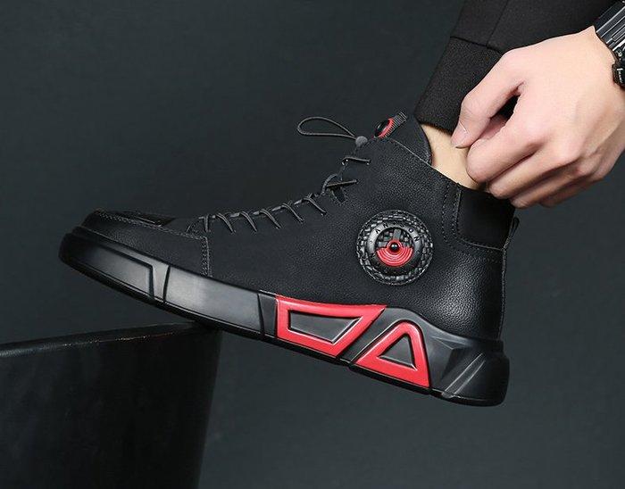 高幫鞋男真皮運動休閑皮鞋冬季加絨馬丁靴男靴韓版潮流內增高男鞋