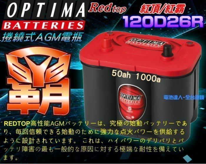 〈鋐瑞電池〉OPTIMA 美國 紅霸 電池 電瓶 120D26R 改裝競技 汽車音響 擴大機 重低音 發電機 Q-90R