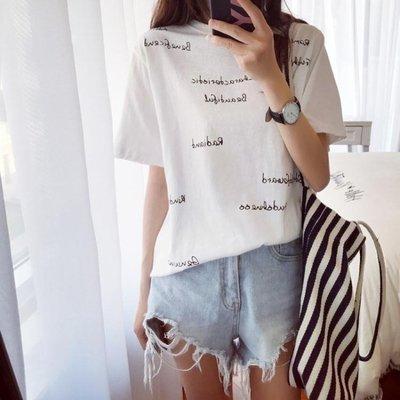 短袖T恤 夏裝2019新款字母印花寬鬆短袖T恤女ins學生港風怪味少女上衣半袖