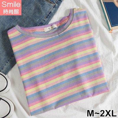 【V2968】SMILE-繽紛色彩.彩條紋圓領寬鬆短袖上衣
