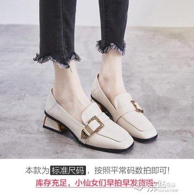英倫風小皮鞋秋季高跟鞋新款秋鞋單鞋秋款粗跟鞋百搭中跟女鞋
