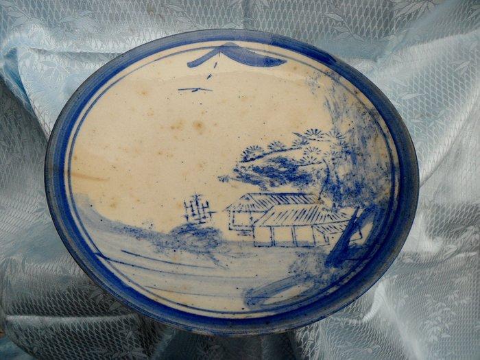 紫色小館4-----清末時期手繪青花盤(直徑25公分)