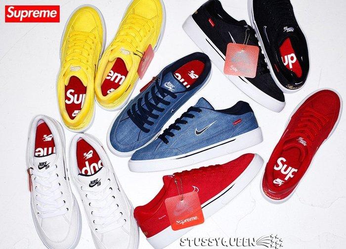 【 現貨 】全新正品 2015 聯名鞋款 Supreme x Nike SB GTS 丹寧 帆布 黑白紅藍黃 8~13