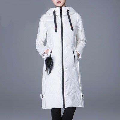 羽絨 外套 連帽夾克-純色長款百搭時尚女外套3色73um9[獨家進口][米蘭精品]
