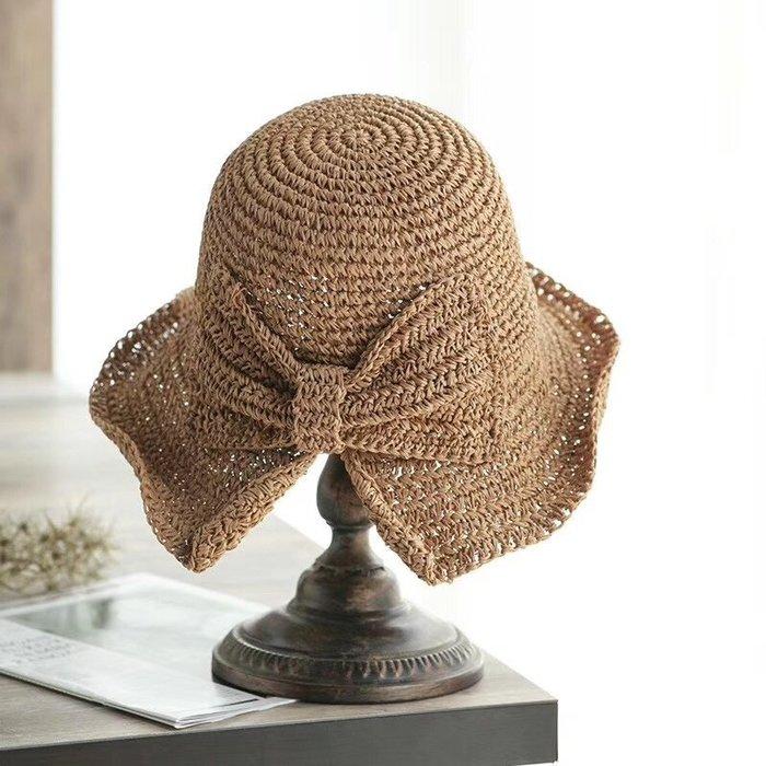 日本簡約小草帽 可折疊 休閒日本盆帽 蝴蝶結UV防曬帽 防紫外線 輕便好收納 日本帽子 夏帽