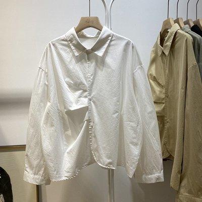 bibi 正韓  設計感翻領抽褶長袖襯衫【 W3151  】
