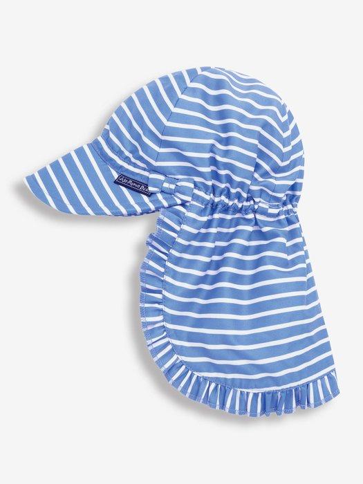 可愛防曬UV帽-藍底白條紋(2-3歲/4-6歲) UPF 50+/英國JoJo Maman Bebe原裝進口