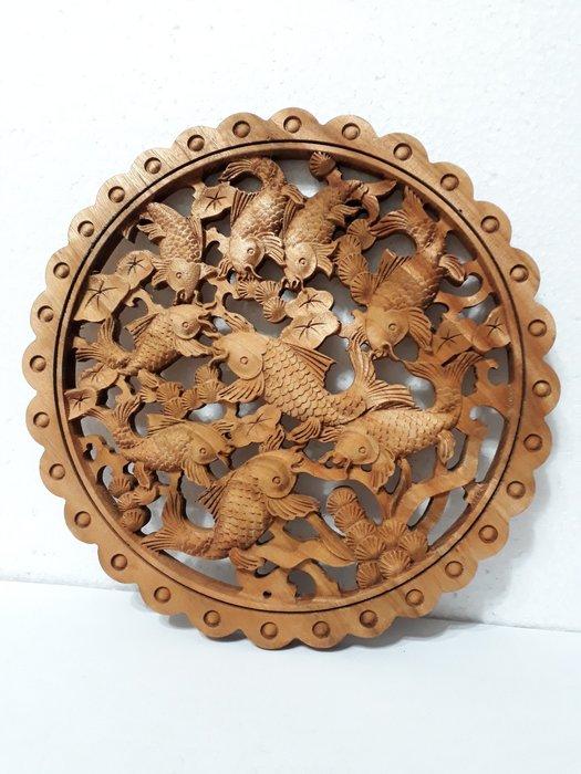 【九龍藝品】香樟木 ~ 原木雕刻  年年有魚.9條魚  6(1)