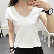 韓國MM= 韓版白色V領T恤女短袖夏季新款修身顯瘦純色打底衫簡約女裝 =搭襯衫連身裙洋裝毛衣針織衛衣t恤