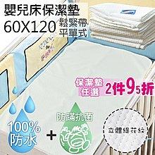 保潔墊2件95折【生活提案2館】嬰兒床防水透氣墊(60x120)專利抗菌+防蹣/緹花平單式隔尿墊/台灣製c