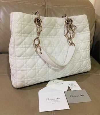 「naomi私藏貨」二手精品便宜特價 九成新 Dior 真品 白色牛皮 黛妃包 托特包 CD 方型手提包 可肩背