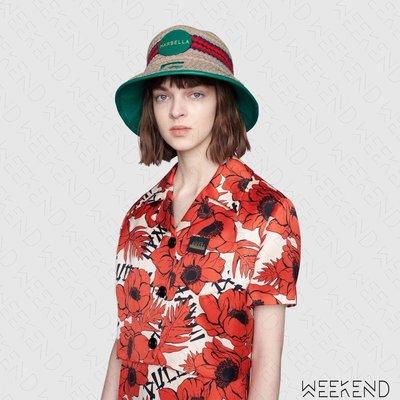 【WEEKEND】 GUCCI Marbella 異材質拼接 編織 皮革滾邊 漁夫帽 629599 綠色 男女同款