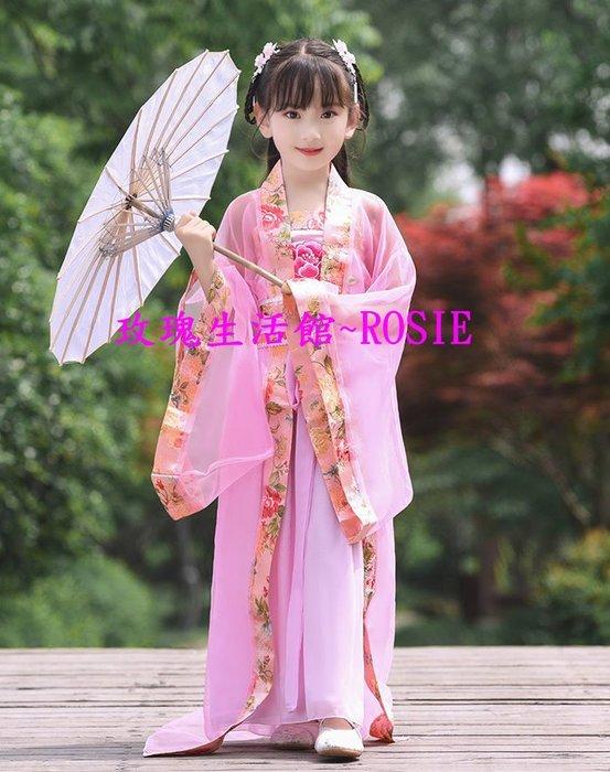 【玫瑰生活館】~兒童牡丹貴妃服,漢服, 紫, 黃, 紅, 藍, 粉