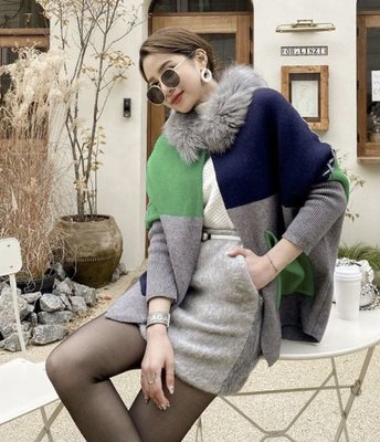 BOSHOW 韓國連線 正韓 個性拼色蓬鬆狐狸毛領針織外套