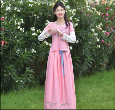 ~~Miss Goddess~~   蘇州高檔刺繡女款夏季改良中國風漢服可日常穿仙女齊腰襦裙非古裝