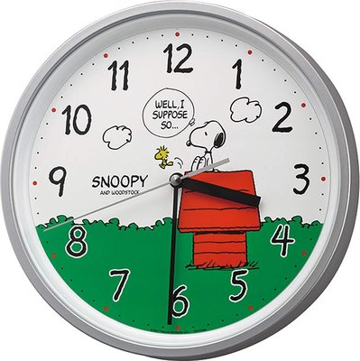 日本正品 Rhythm 麗聲 史努比 SNOOPY 靜音秒針 時鐘 掛鐘 8MGA40-M19 日本代購