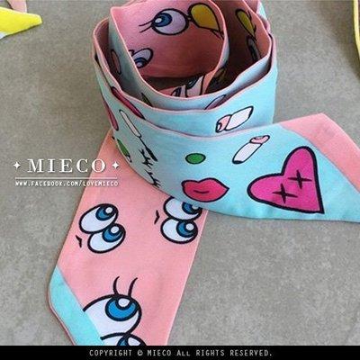 【Mieco】俏皮大眼睛 斜紋綢包包手柄綁巾綁帶印花絲巾絲帶。play no more類似風格